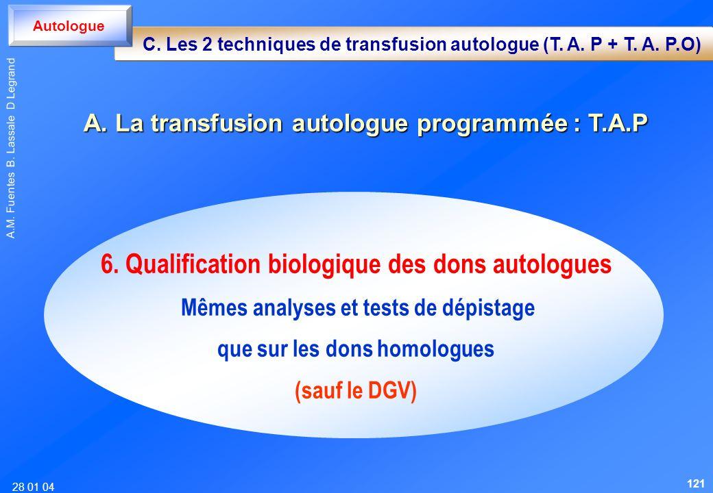6. Qualification biologique des dons autologues