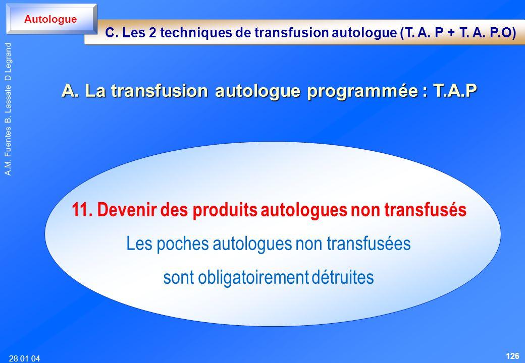 11. Devenir des produits autologues non transfusés