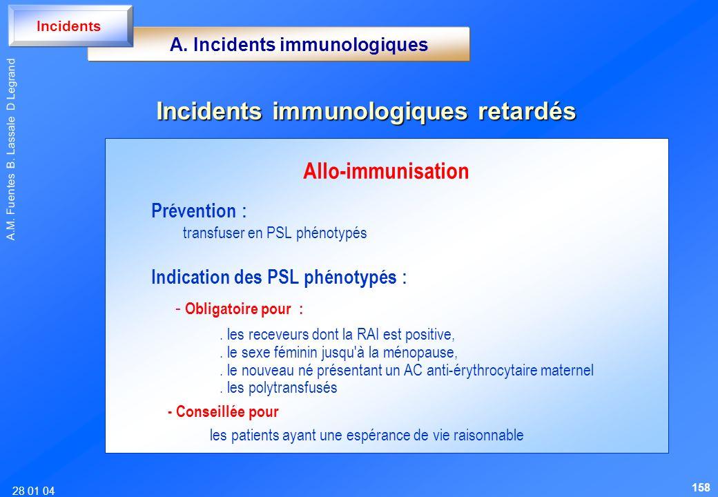 A. Incidents immunologiques Incidents immunologiques retardés