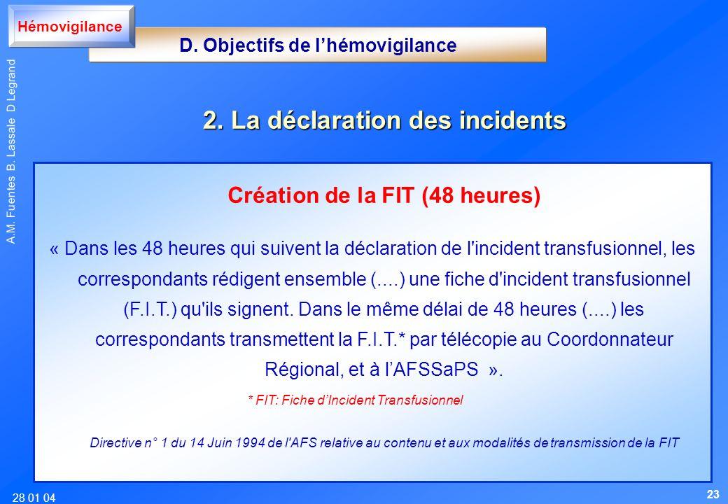 D. Objectifs de l'hémovigilance Création de la FIT (48 heures)