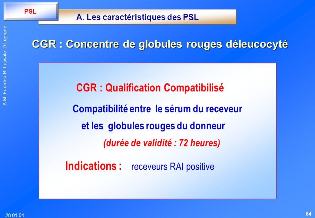 CGR : Concentre de globules rouges déleucocyté