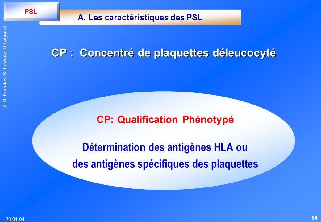 CP : Concentré de plaquettes déleucocyté