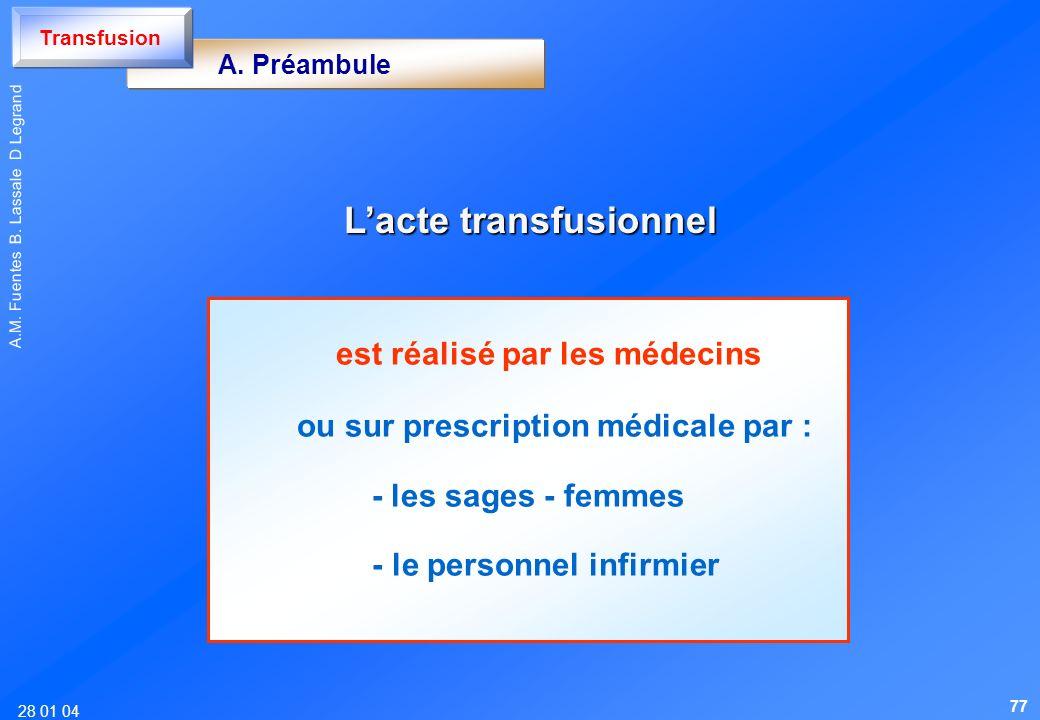 L'acte transfusionnel est réalisé par les médecins