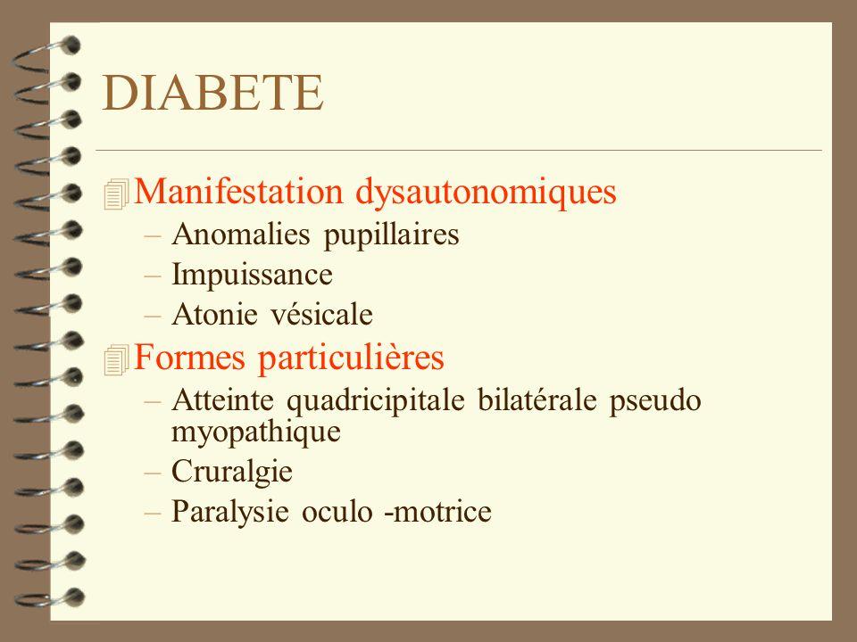 DIABETE Manifestation dysautonomiques Formes particulières
