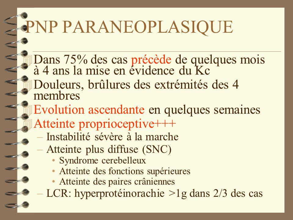 PNP PARANEOPLASIQUE Dans 75% des cas précède de quelques mois à 4 ans la mise en évidence du Kc. Douleurs, brûlures des extrémités des 4 membres.