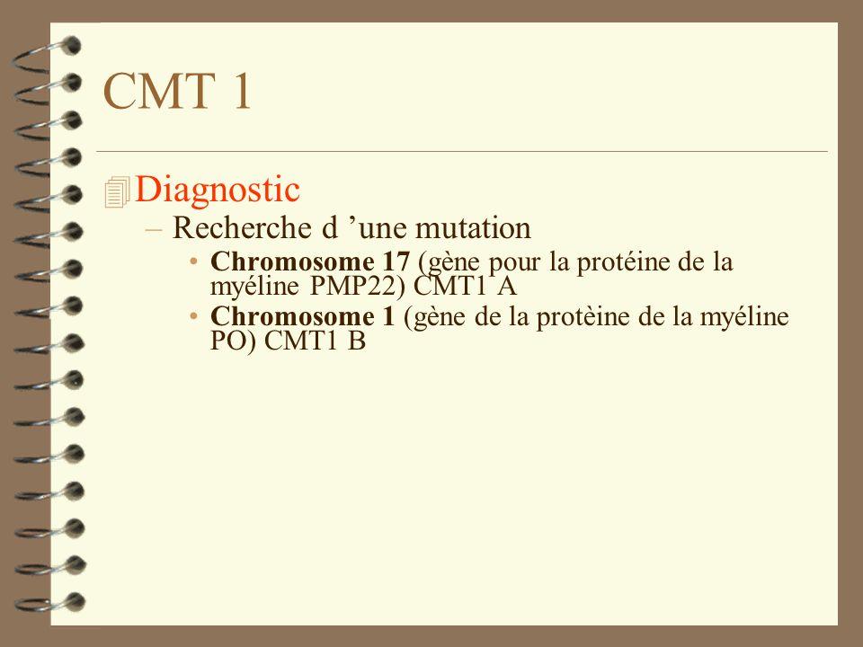 CMT 1 Diagnostic Recherche d 'une mutation