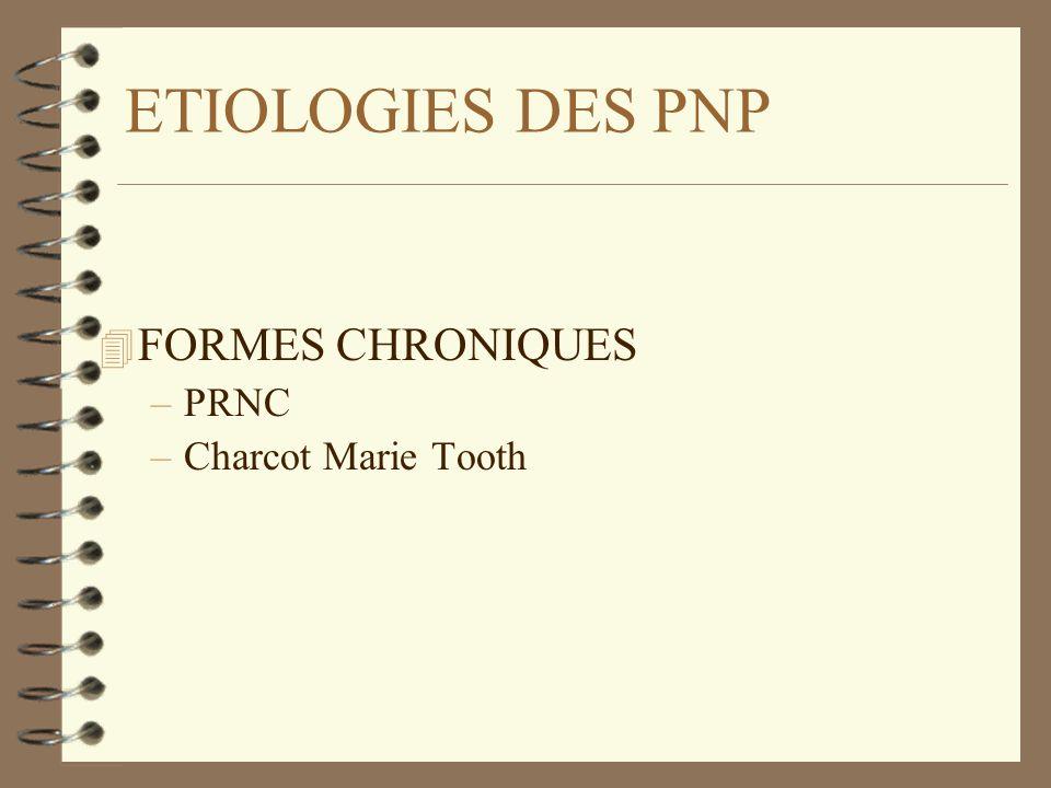 ETIOLOGIES DES PNP FORMES CHRONIQUES PRNC Charcot Marie Tooth