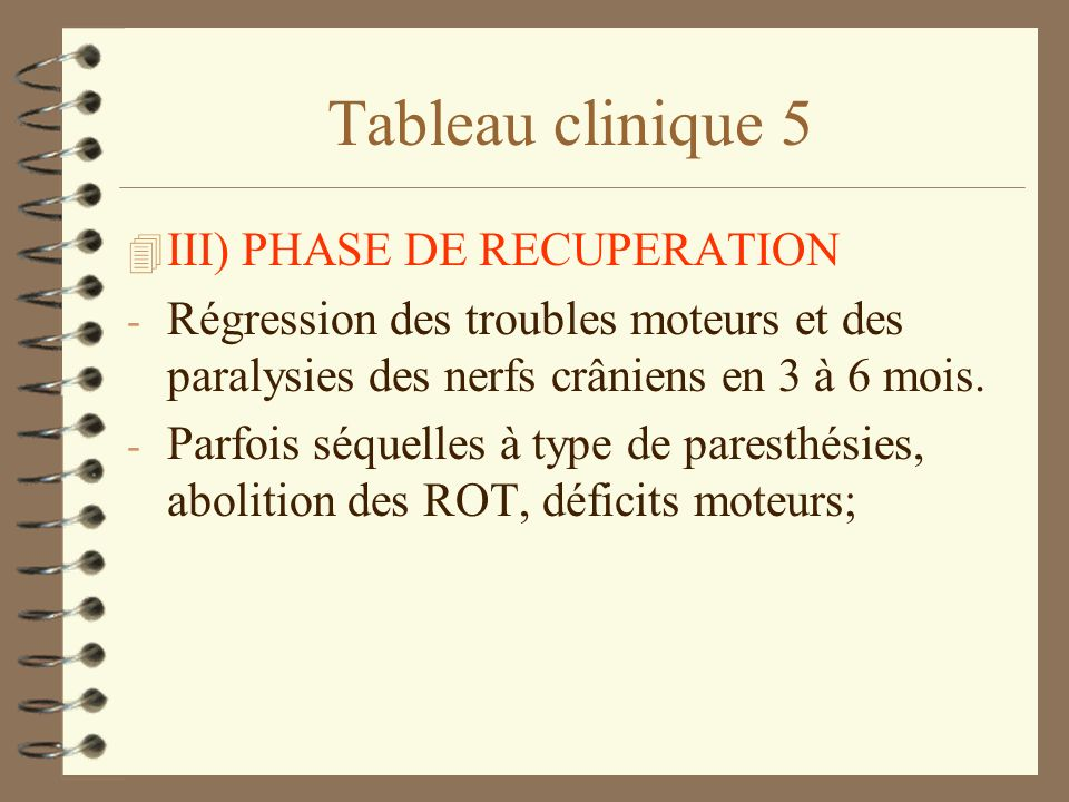 Tableau clinique 5 III) PHASE DE RECUPERATION