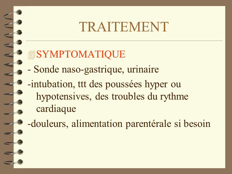 TRAITEMENT SYMPTOMATIQUE - Sonde naso-gastrique, urinaire