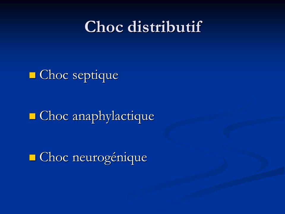 Choc distributif Choc septique Choc anaphylactique Choc neurogénique