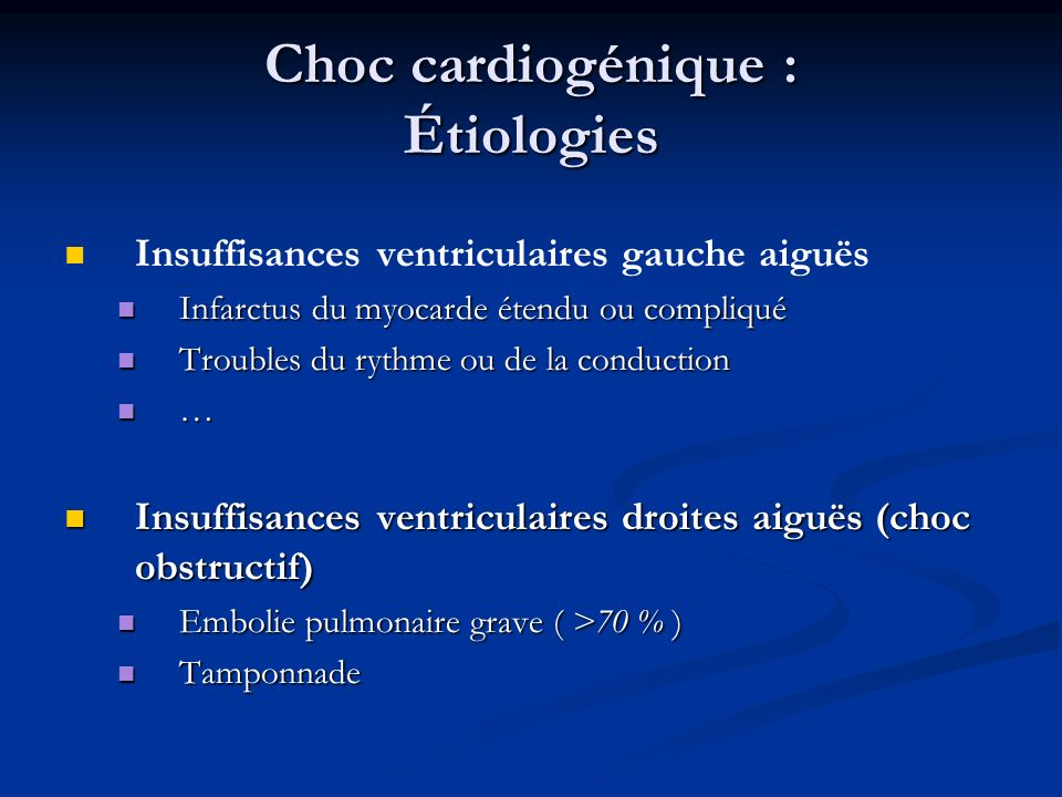 Choc cardiogénique : Étiologies