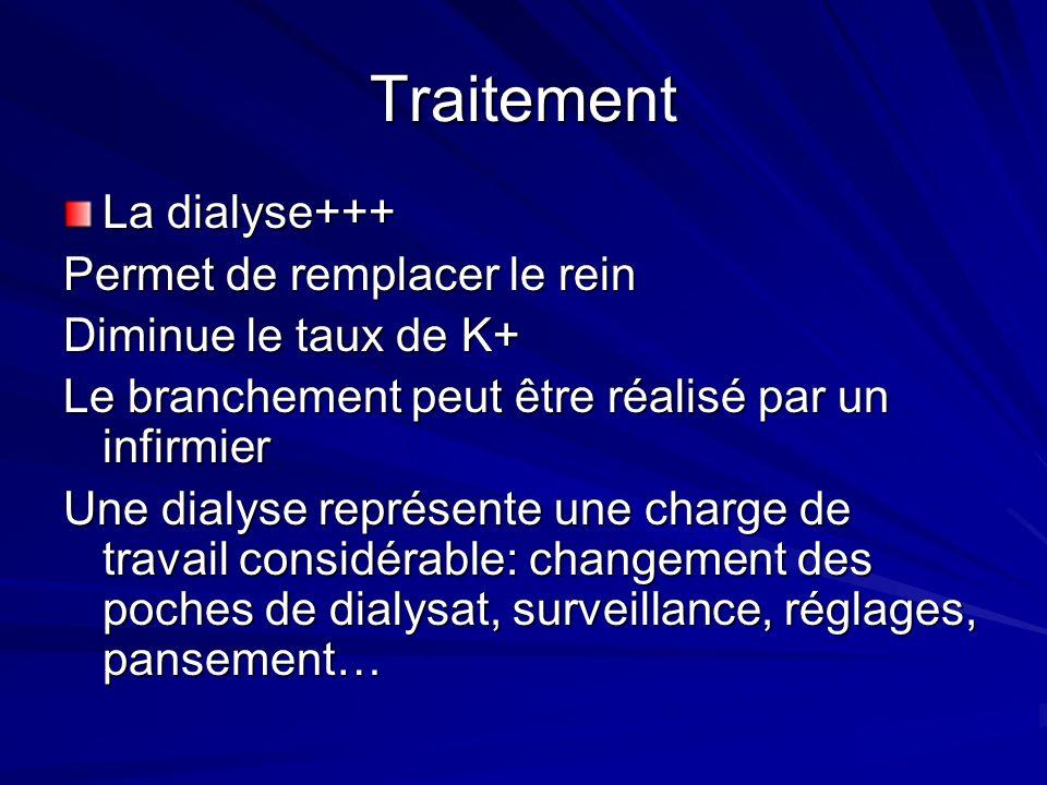 Traitement La dialyse+++ Permet de remplacer le rein