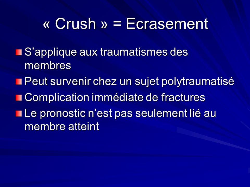 « Crush » = Ecrasement S'applique aux traumatismes des membres