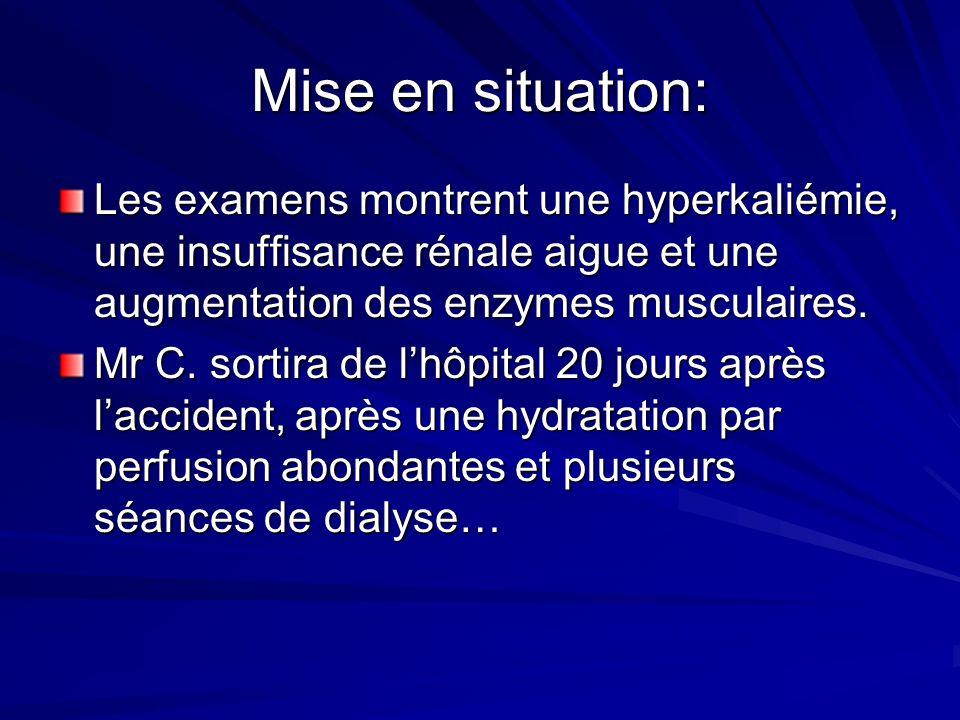 Mise en situation: Les examens montrent une hyperkaliémie, une insuffisance rénale aigue et une augmentation des enzymes musculaires.