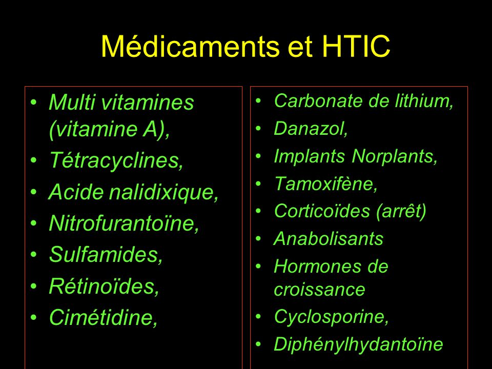 Médicaments et HTIC Multi vitamines (vitamine A), Tétracyclines,