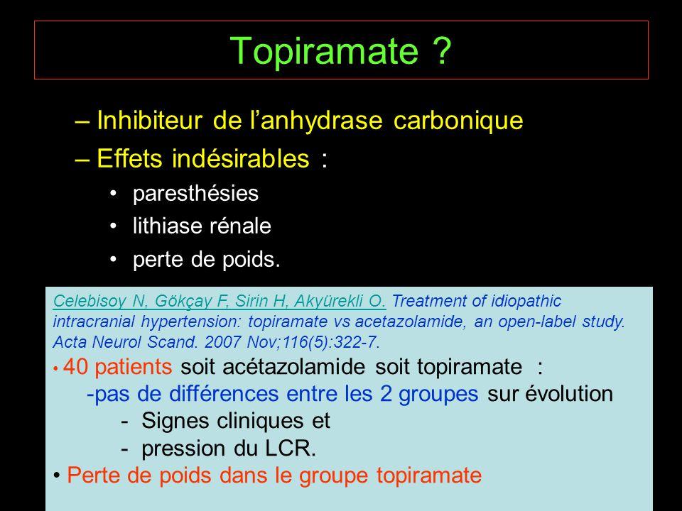 Topiramate Inhibiteur de l'anhydrase carbonique
