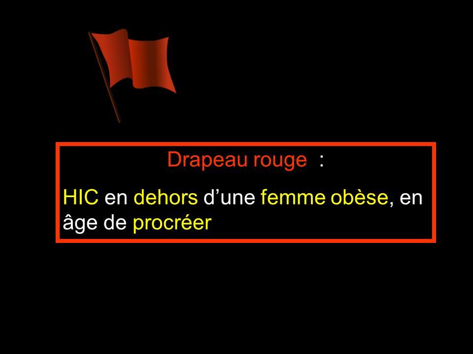 Drapeau rouge : HIC en dehors d'une femme obèse, en âge de procréer
