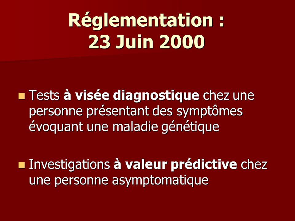 Réglementation : 23 Juin 2000 Tests à visée diagnostique chez une personne présentant des symptômes évoquant une maladie génétique.