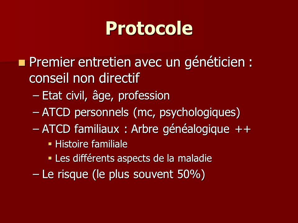 Protocole Premier entretien avec un généticien : conseil non directif