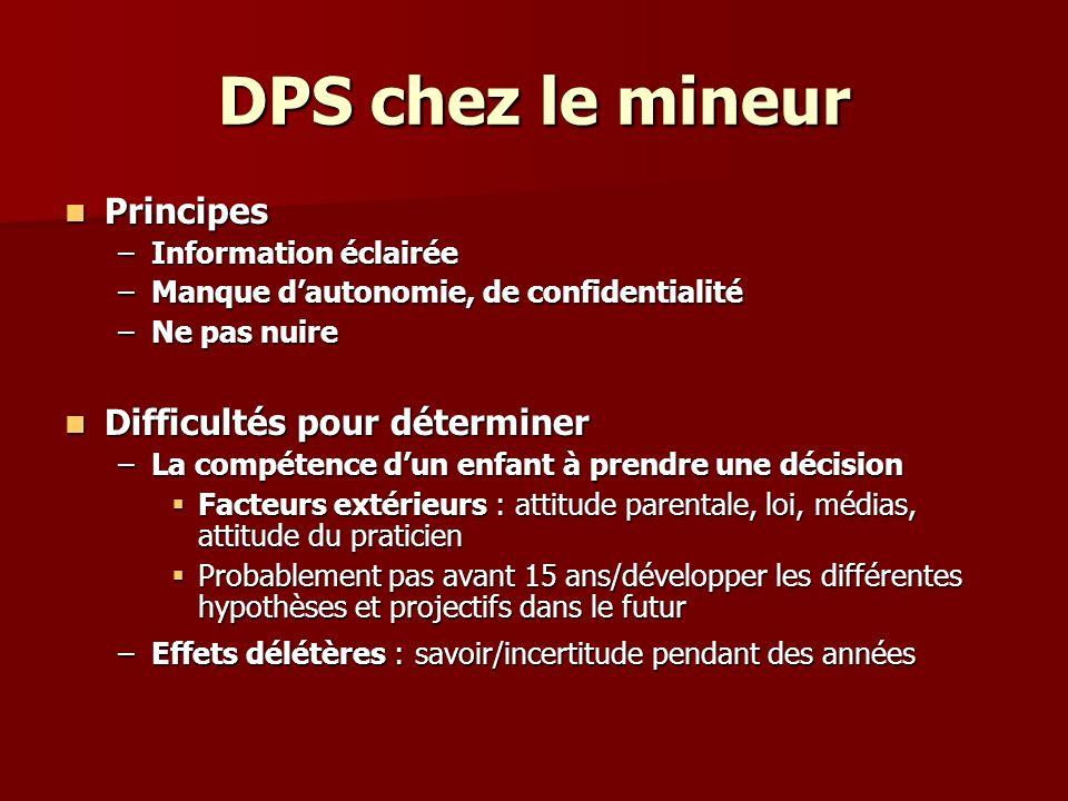 DPS chez le mineur Principes Difficultés pour déterminer