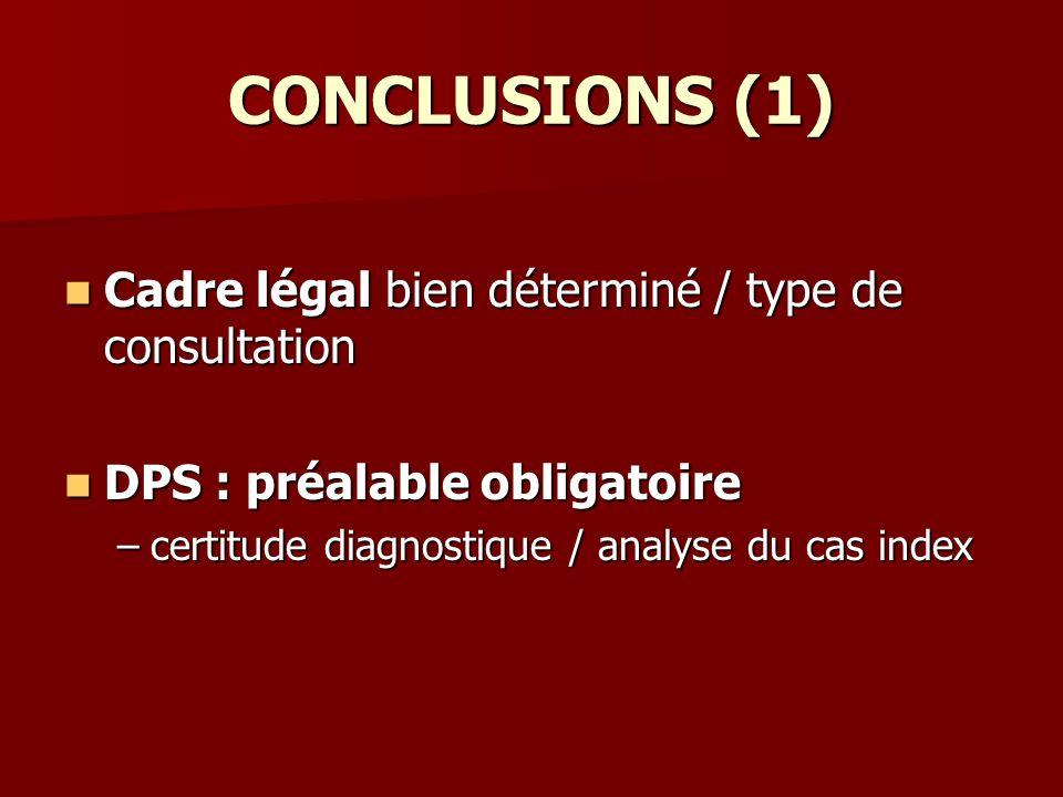 CONCLUSIONS (1) Cadre légal bien déterminé / type de consultation