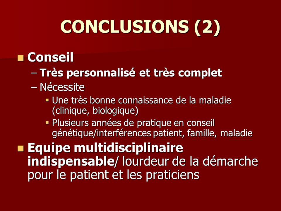 CONCLUSIONS (2) Conseil