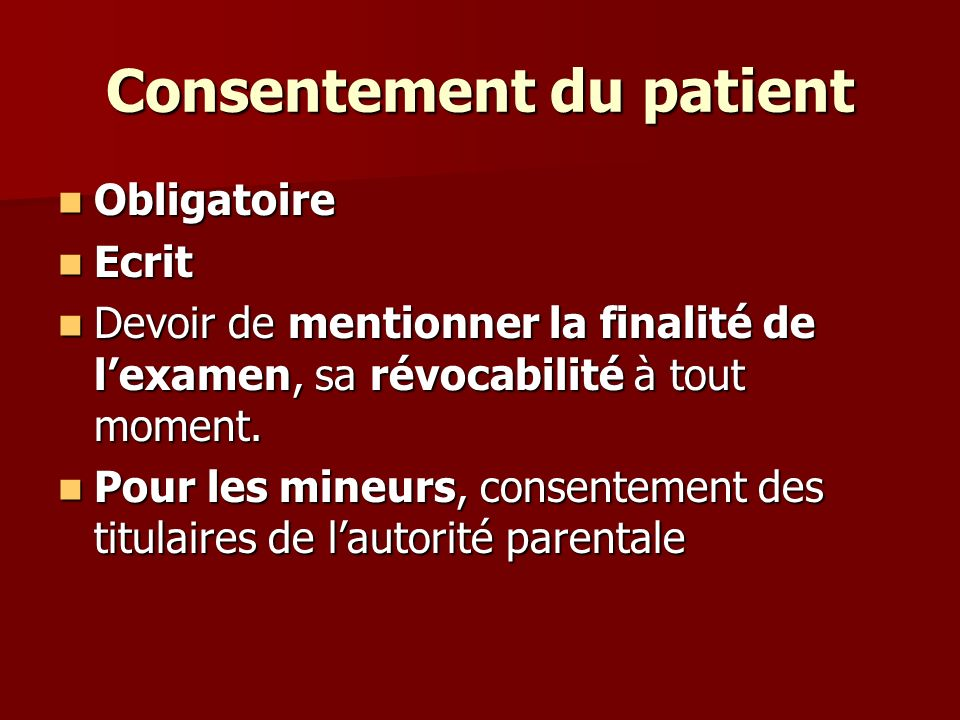 Consentement du patient