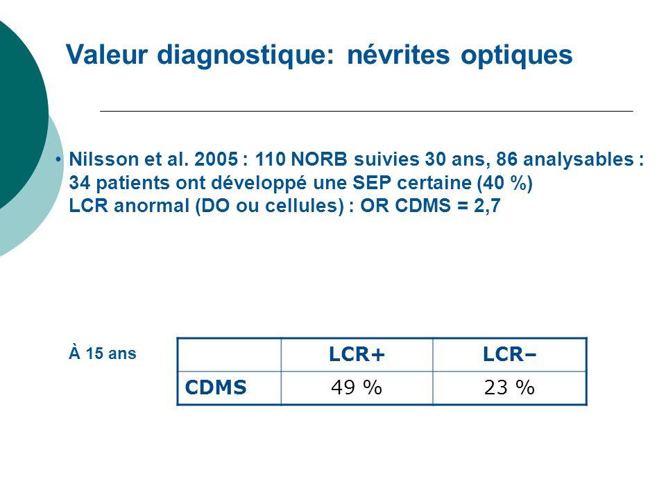 Valeur diagnostique: névrites optiques