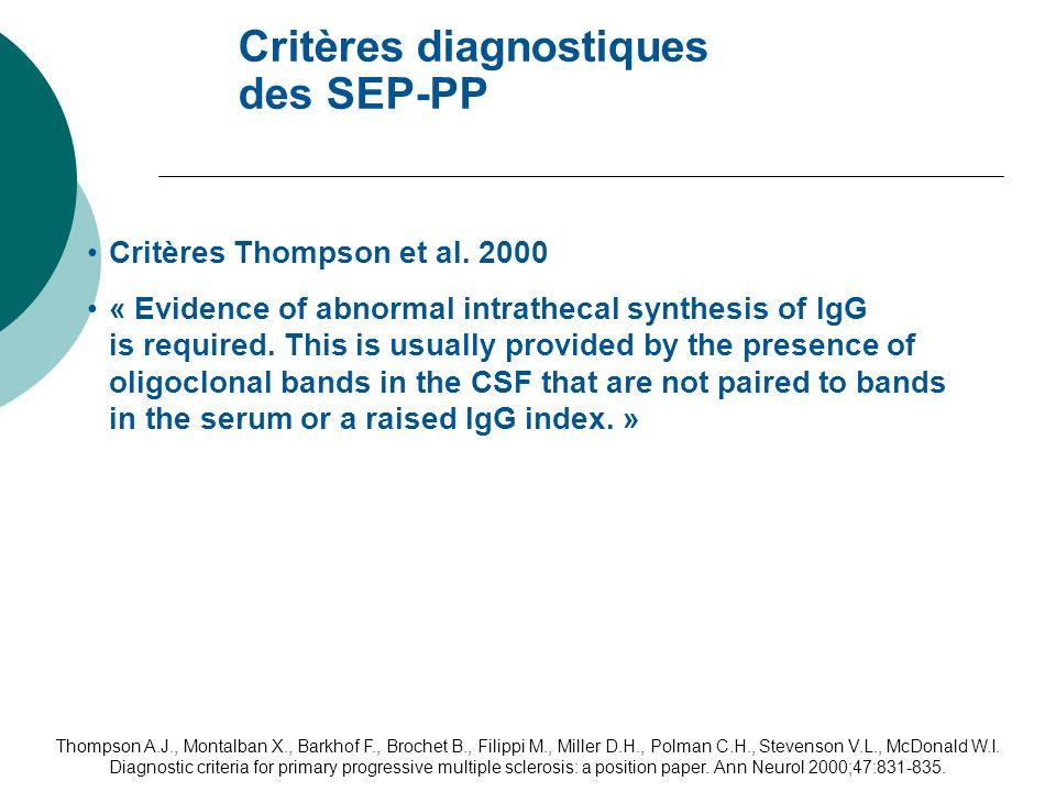 Critères diagnostiques des SEP-PP