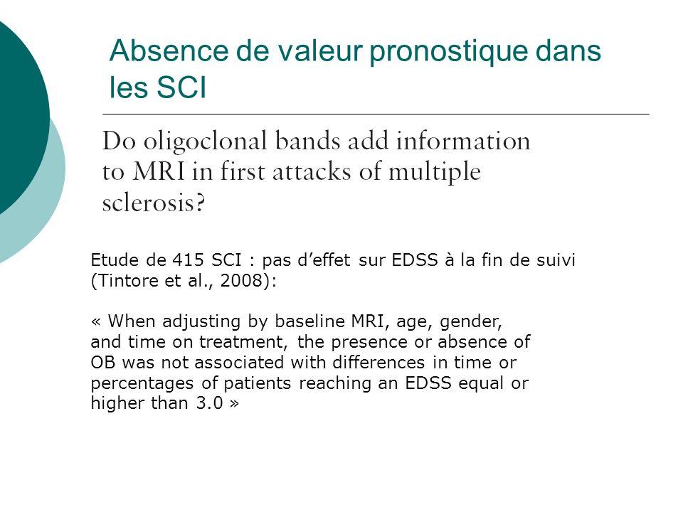 Absence de valeur pronostique dans les SCI