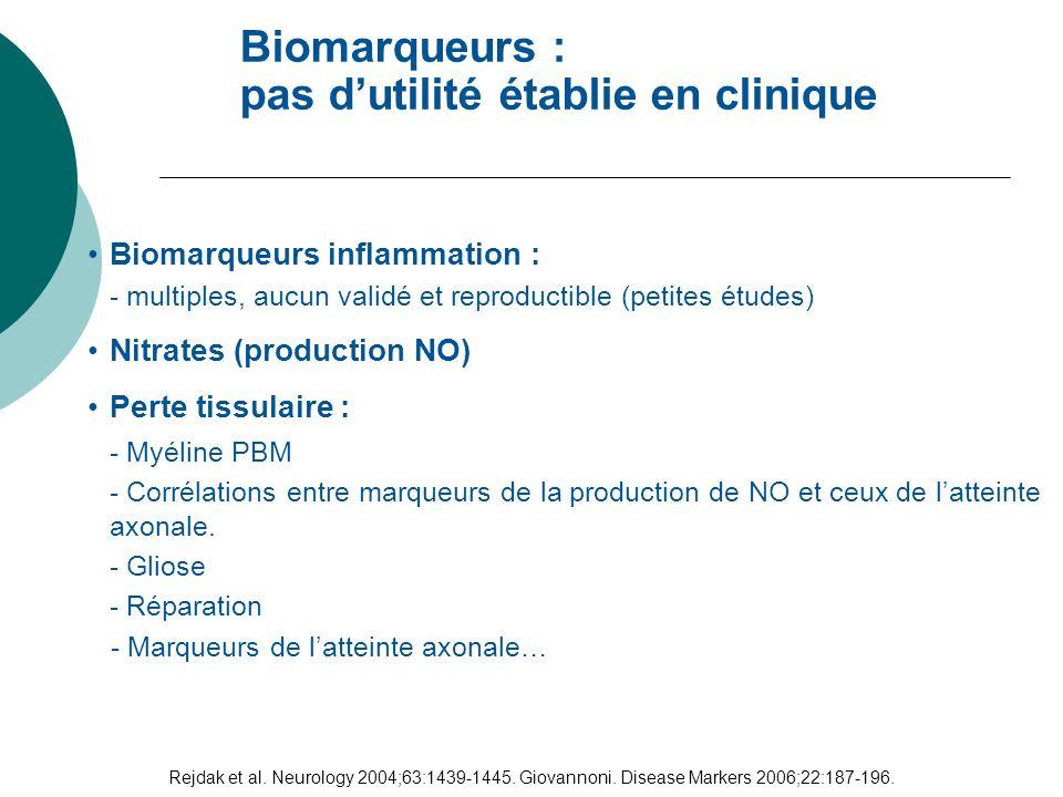 Biomarqueurs : pas d'utilité établie en clinique