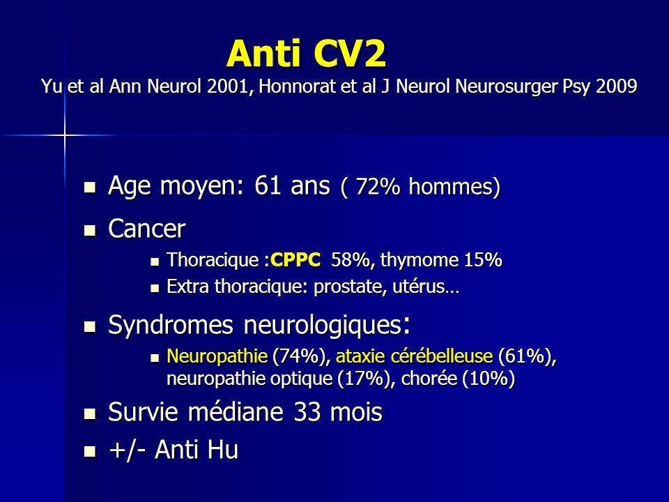 Anti CV2 Yu et al Ann Neurol 2001, Honnorat et al J Neurol Neurosurger Psy 2009