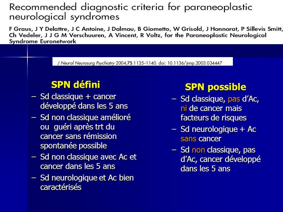 SPN défini SPN possible Sd classique + cancer développé dans les 5 ans
