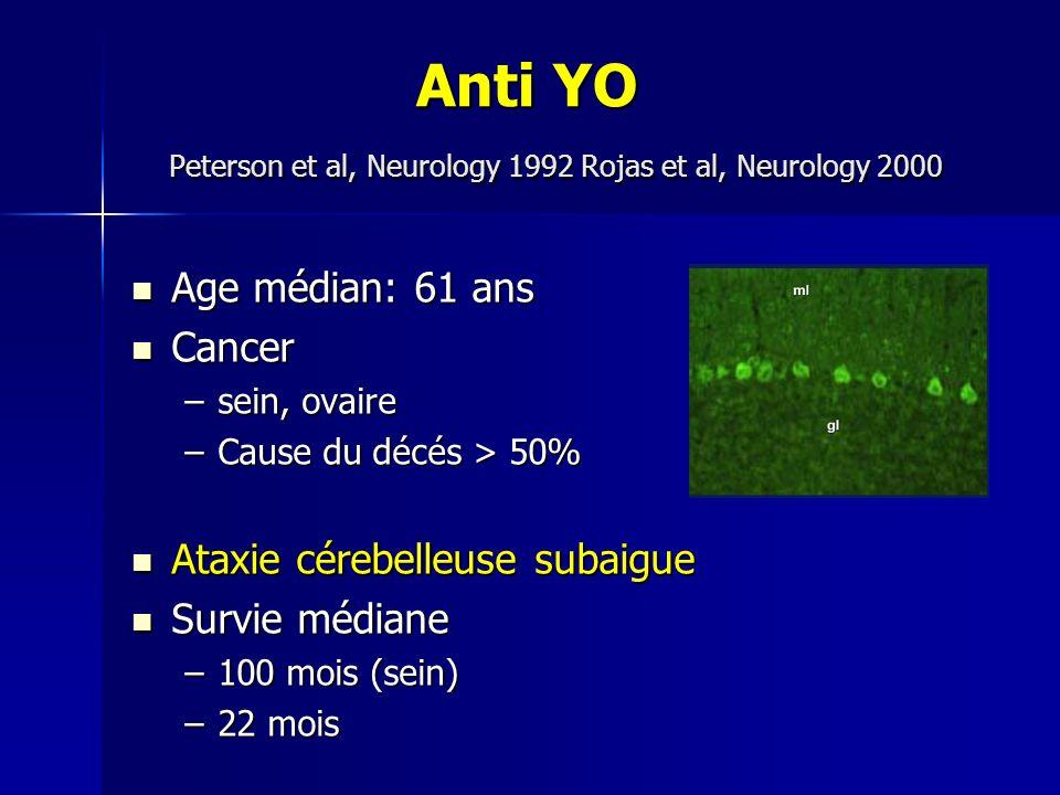 Anti YO Peterson et al, Neurology 1992 Rojas et al, Neurology 2000