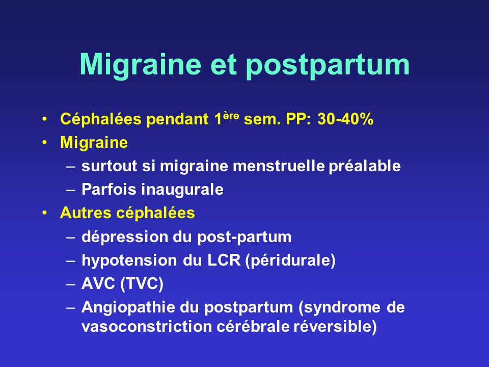 Migraine et postpartum