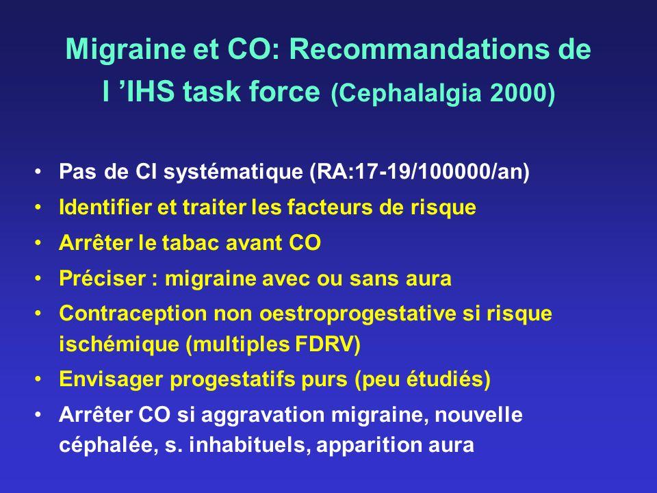 Migraine et CO: Recommandations de l 'IHS task force (Cephalalgia 2000)