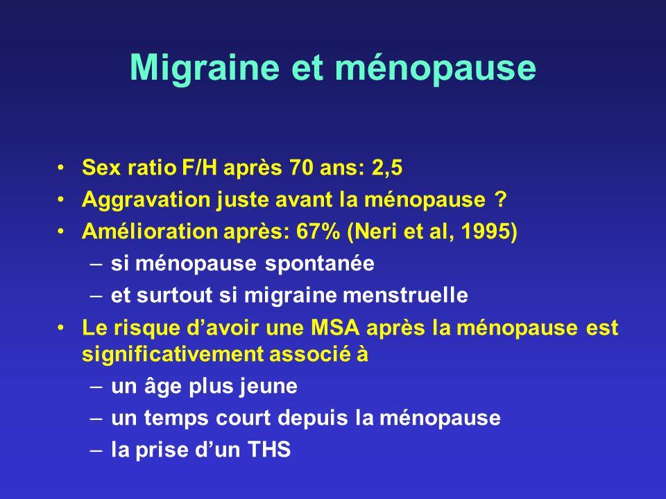Migraine et ménopause Sex ratio F/H après 70 ans: 2,5