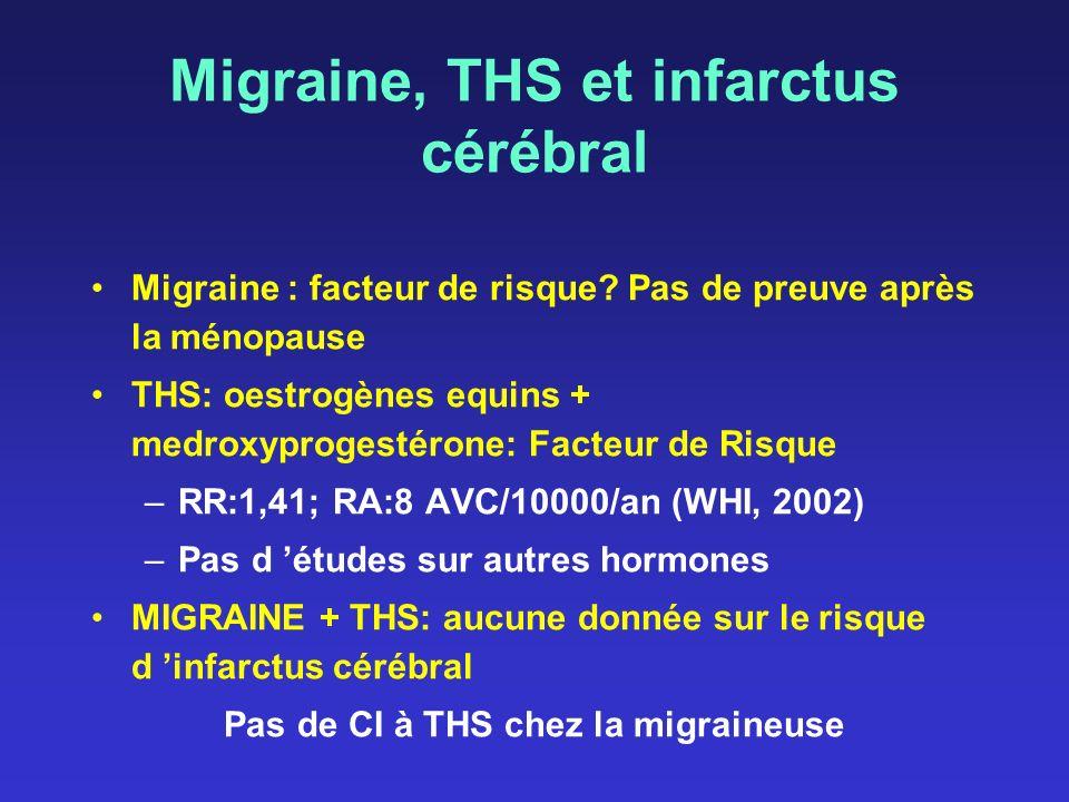 Migraine, THS et infarctus cérébral