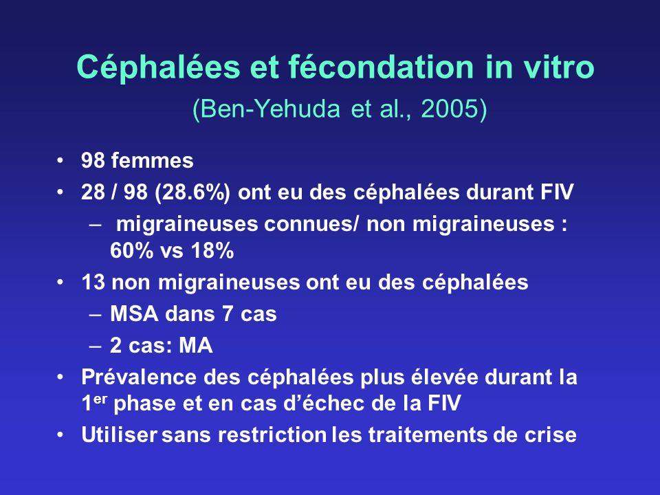 Céphalées et fécondation in vitro (Ben-Yehuda et al., 2005)