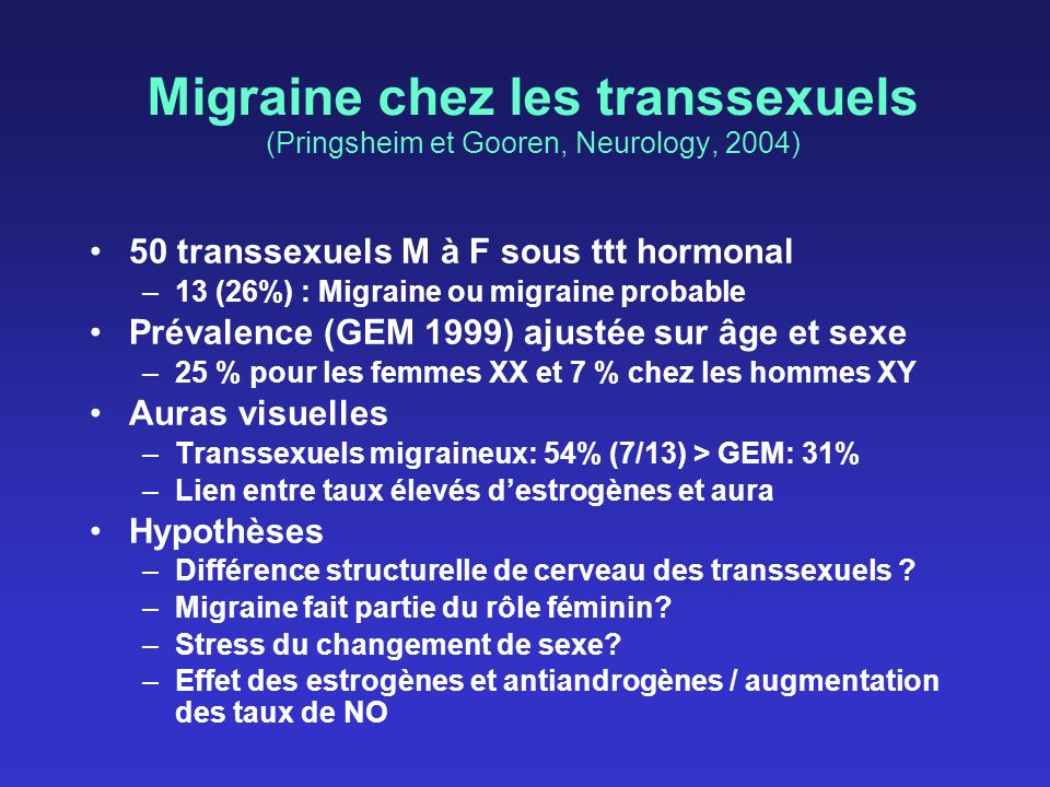 Migraine chez les transsexuels (Pringsheim et Gooren, Neurology, 2004)