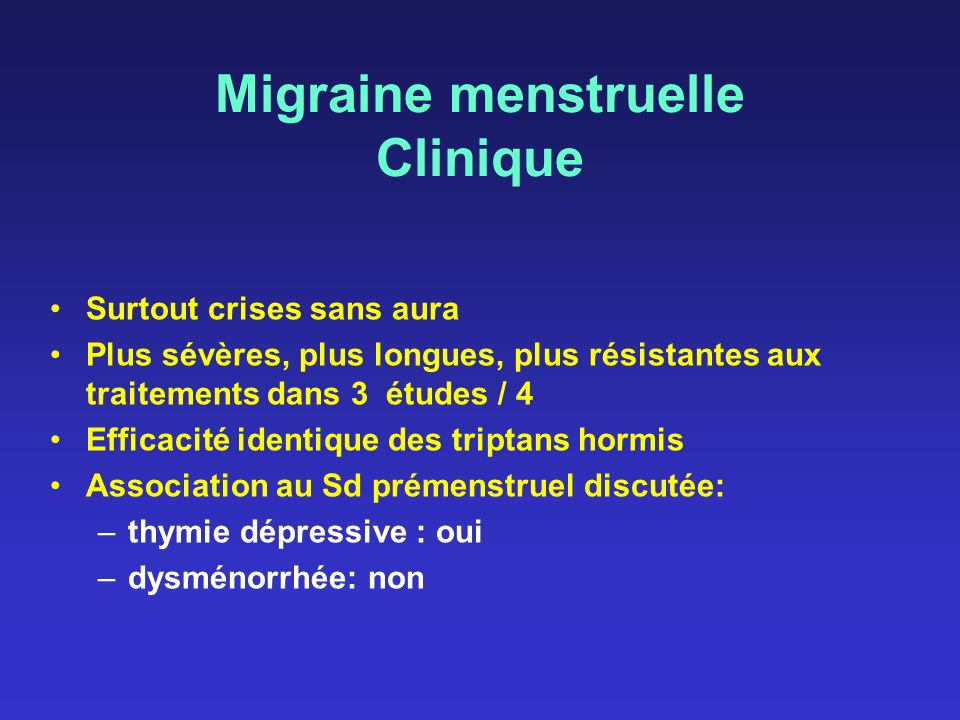 Migraine menstruelle Clinique