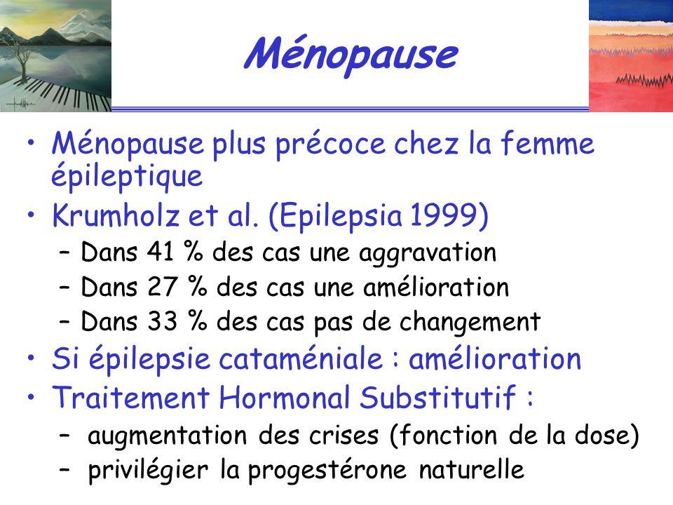 Ménopause Ménopause plus précoce chez la femme épileptique