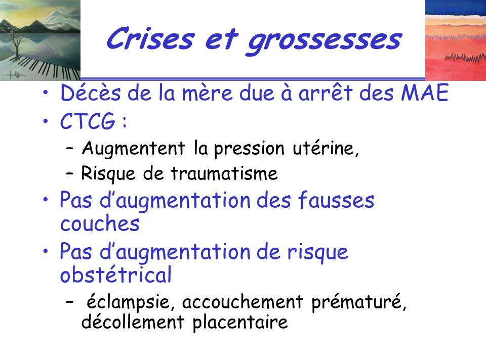 Crises et grossesses Décès de la mère due à arrêt des MAE CTCG :