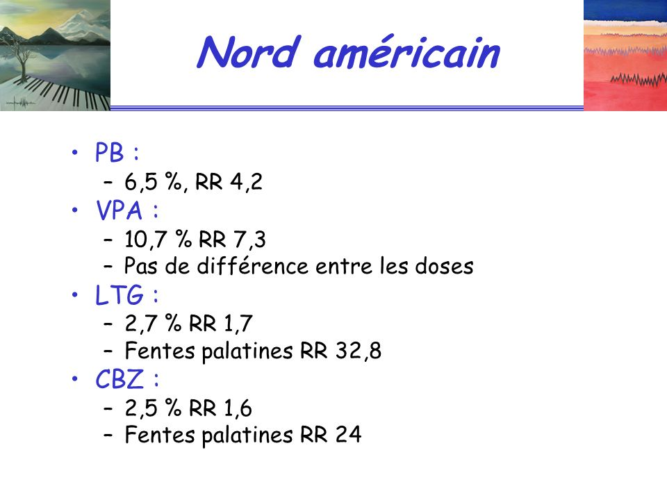 Nord américain PB : VPA : LTG : CBZ : 6,5 %, RR 4,2 10,7 % RR 7,3
