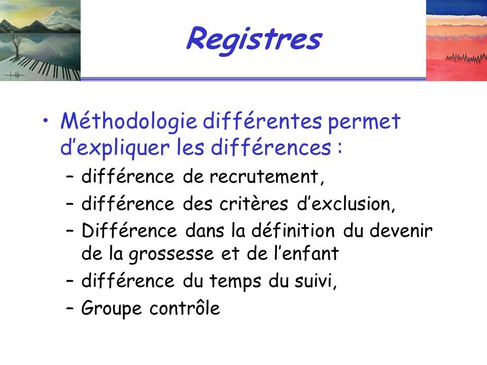 Registres Méthodologie différentes permet d'expliquer les différences : différence de recrutement,
