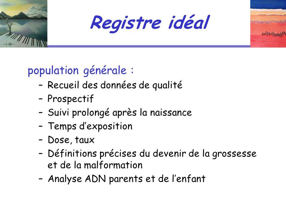 Registre idéal population générale : Recueil des données de qualité