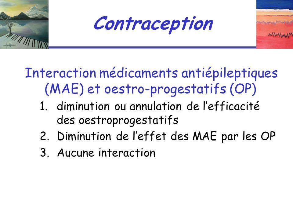 Contraception Interaction médicaments antiépileptiques (MAE) et oestro-progestatifs (OP)