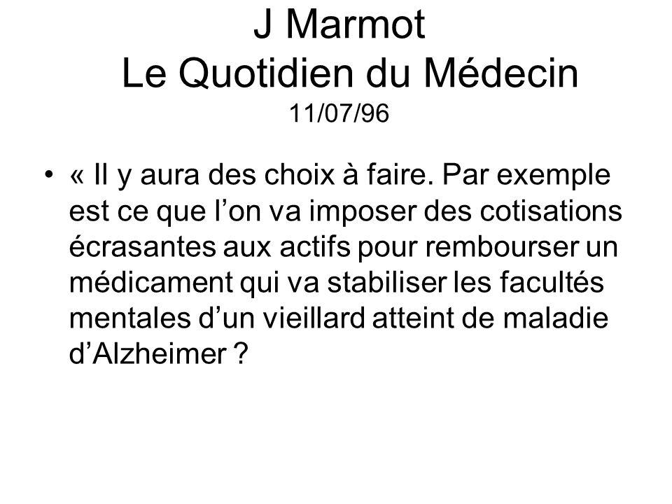 J Marmot Le Quotidien du Médecin 11/07/96