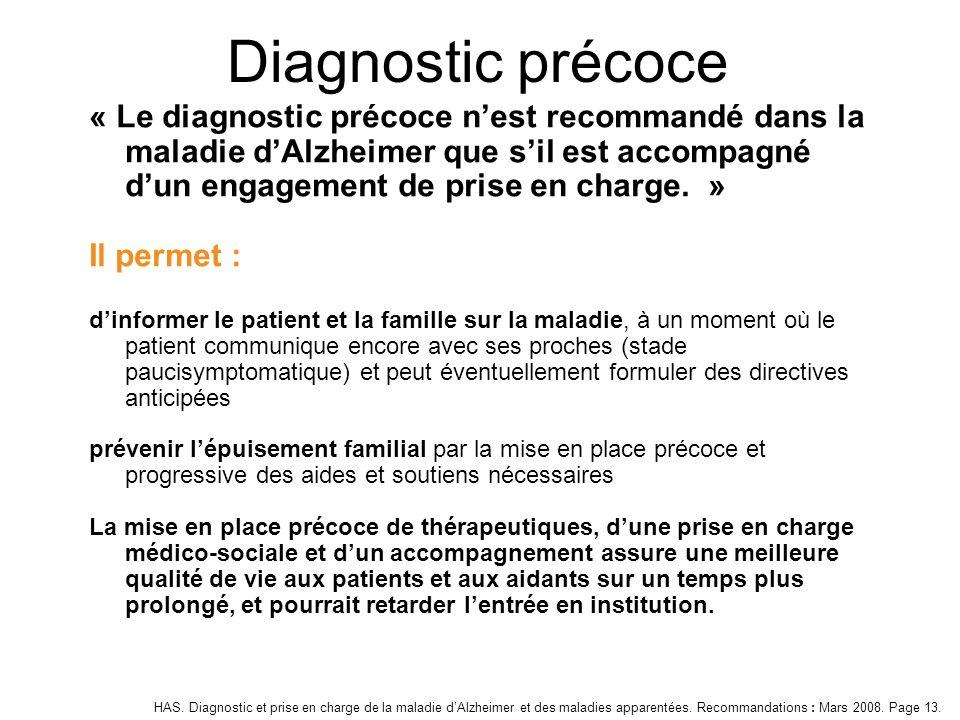 Diagnostic précoce