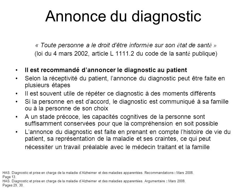 Annonce du diagnostic « Toute personne a le droit d'être informée sur son état de santé »